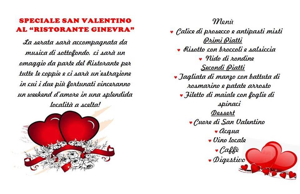 Menu San Valentino Ristorante Ginevra